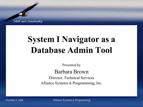 System I Navigator As A Database Admin Tool Gateway400 Group