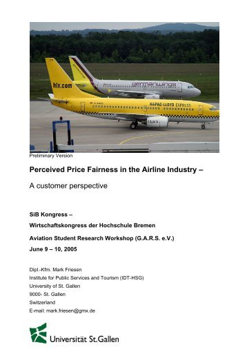 Perceived Price Fairness in the Airline Industry - GARS - German ...
