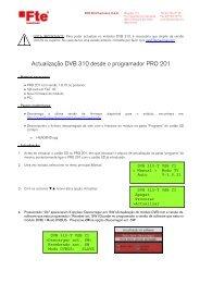 Actualização DVB 310 desde o programador PRO 201 - FTE Maximal