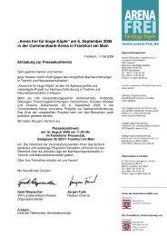Arena frei Einladung Pressekonferenz - Frankfurter Presseclub
