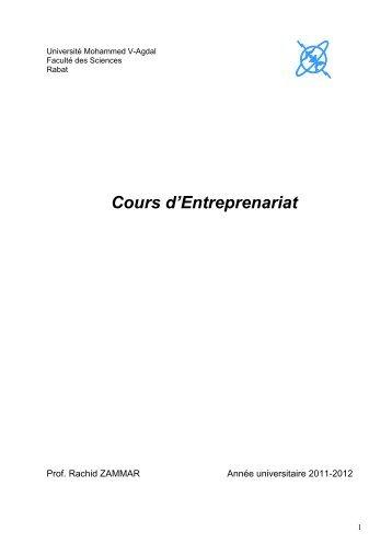 Cours d'Entreprenariat - Faculté des Sciences Rabat