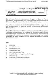 ASR A4.3 Erste-Hilfe-Räume, Mittel und Einrichtungen zur Ersten Hilfe