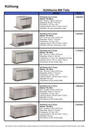 Kühltische 600 Tiefe - Gastro Concept