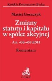 Zmiany statutu i kapita³u w spółce akcyjnej Art. 430–458 ... - Gandalf
