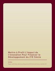 Mettre à Profit L'Impact de l'innovation Pour Financer le ...