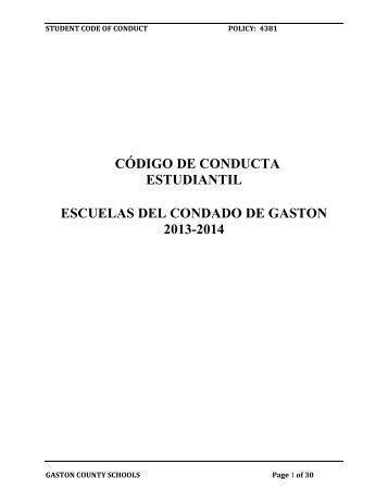 código de conducta estudiantil escuelas del condado de gaston ...