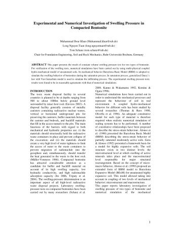 Experimental and Numerical Investigation of Swelling Pressure in ...