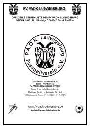 Offizieller Spielplan Saison 10 / 11 - fv paok ludwigsburg