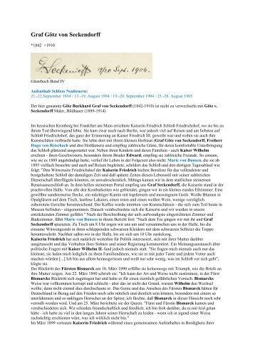 Graf Götz von Seckendorff - Gästebücher von Schloss Neubeuern