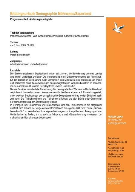 Programm Moehnesee Demografie 2009 - Forum Unna