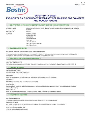Safety Data Sheet Evo Stik Wood Adhesive Interior The