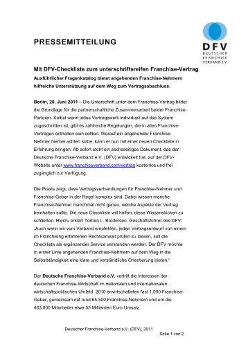überprüfung Des Franchise Vertrages Checkliste Deutscher