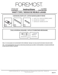 Instructions VANITY TOPS / DESSUS DE MEUBLE ... - Foremost