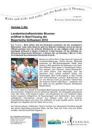 Landwirtschaftsminister Brunner eröffnet in Bad Füssing die ...