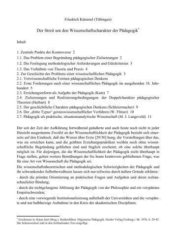 Der Streit um den Wissenschaftscharakter der ... - Friedrich Kümmel