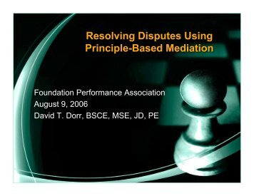 Resolving Disputes Using Principle-Based Mediation - Foundation ...