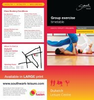 Group exercise timetable Available in LARGE print - Fusion Lifestyle