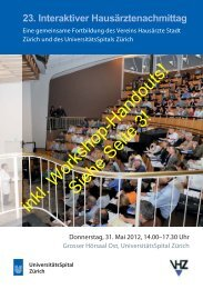 inkl. Workshop-Handouts! - Fortbildung - UniversitätsSpital Zürich