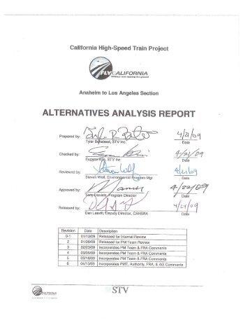 Los Angeles to Anaheim Alternatives Analysis Report
