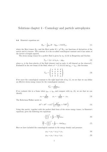 Solutions chapter 4 - Cosmology and particle astrophysics