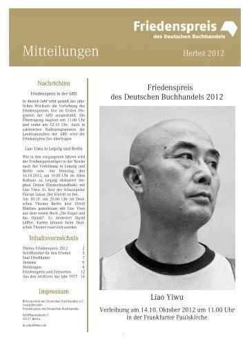 Mitteilungen 2012-3 Herbst - Friedenspreis des Deutschen ...