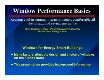 What are windows for? - Florida Solar Energy Center