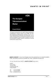 D A N T E   I N   P R I N T The European Telecommunications Market