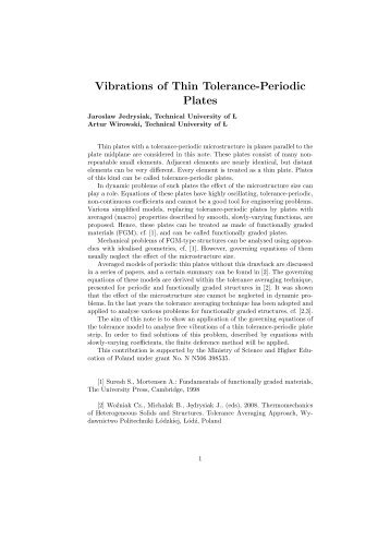 Vibrations of Thin Tolerance-Periodic Plates - GAMM 2010