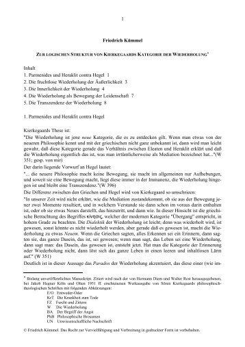 1 Friedrich Kümmel Inhalt 1. Parmenides und Heraklit contra Hegel ...