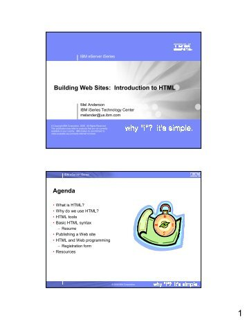 Building Web Sites: Introduction to HTML Agenda - Gateway/400 ...