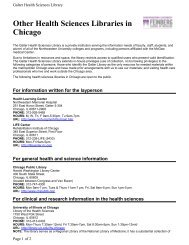 Other Health Sciences Libraries in Chicago - Galter Health Sciences ...