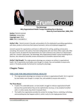 The Advantage - Frumi Group