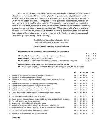 East  College Student Course Feedback  East Evaluation