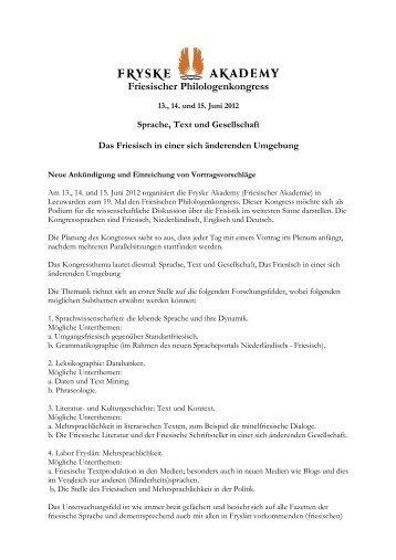 Frie esischer Philolog genkong gress - Fryske Akademy
