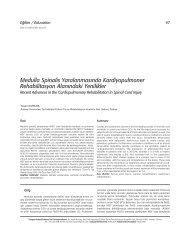 Medulla Spinalis Yaralanmas›nda Kardiyopulmoner ... - FTR Dergisi