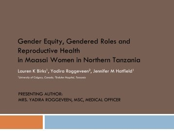 Gender Equity, Gendered Roles and Reproductive Health in Maasai ...