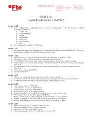 -RCM 310- Novidades da versão / Histórico - FTE Maximal
