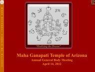 MahaGanapati Temple of Arizona, 2012 AGM