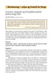 Kapittel 1: Bioteknologi - visjon og fremtid for Norge - Norges ...