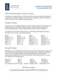 Assisted Living Education Training Schedule 2013 - The Foundation ...
