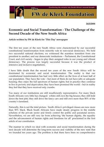 Economic and Social Transformation - FW de Klerk Foundation