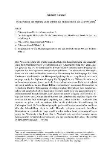 Memorandum zur Stellung und Funktion der ... - Friedrich Kümmel