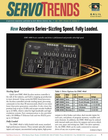 New Accelera Series–Sizzling Speed. Fully Loaded. - Galil