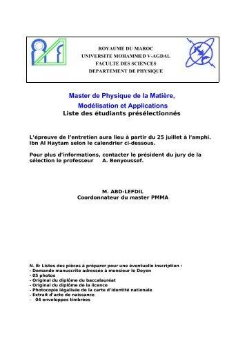 UNIVERSITE MOHAMMED V – AGDAL - Faculté des Sciences Rabat