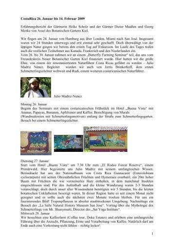 1 CostaRica 26. Januar bis 14. Februar 2009 Erfahrungsbericht der ...