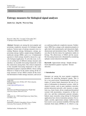 Entropy measures for biological signal analyses - Jianbo Gao