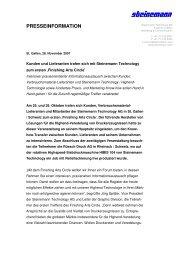 PRESSEINFORMATION - Steinemann Technology AG