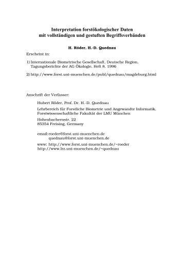 Interpretation forstökologischer Daten mit vollständigen und ...