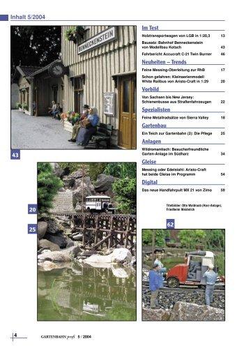 Inhalt 5/2004 Im Test Neuheiten – Trends Vorbild ... - Gartenbahn Profi