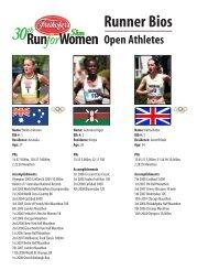 Runner Bios - Freihofer's Run for Women